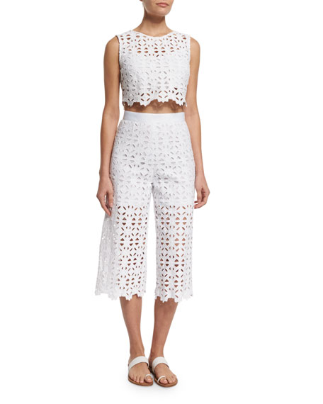Dana Crocheted-Lace Cropped Pants