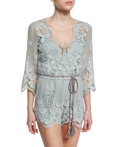 Greta Netted/Lace Romper Coverup, Sage