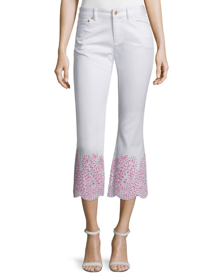 MICHAEL Michael Kors Embroidered-Cuff Flare-Leg Cropped Denim