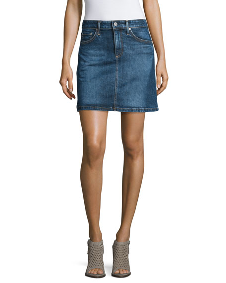 AG The Ali A-Line Denim Skirt, Indigo Plain Skirt