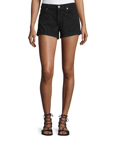 Rolled-Cuff Denim Shorts, Black