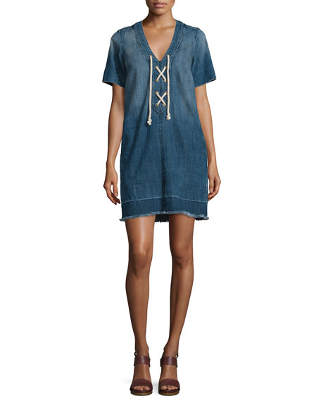 Current/Elliott The All-Laced-Up Short-Sleeve Dress, Civilian