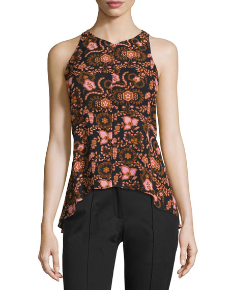 Stuart Sleeveless Floral Silk Top, Henna/Black/Pink