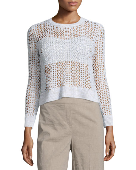 TheoryKrezia B Iras Crocheted Knit Cropped Sweater