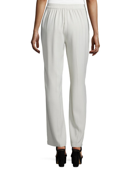 Silk Georgette Crepe Straight-Leg Pants