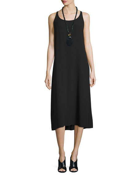 Eileen Fisher Sleeveless Scoop-Neck Tank Dress, Black