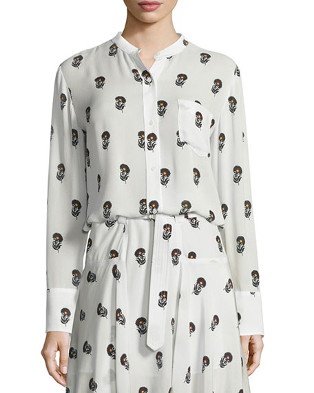 Julie Long-Sleeve Silk Dahlia Blouse, Eggshell/Black