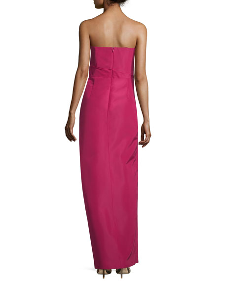 Strapless Fan-Pleated Column Gown, Fuchsia