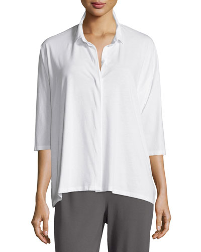Collared 3/4-Sleeve Easy Jersey Shirt