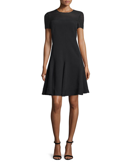 J. Mendel Short-Sleeve Fit-&-Flare Dress, Noir