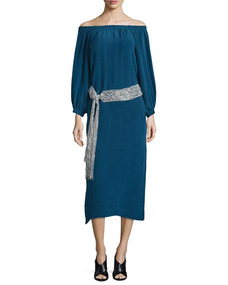 Belted Silk Off-the-Shoulder Midi Dress, Emerald Blue