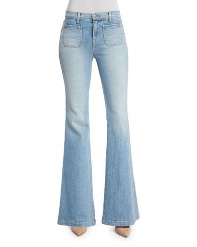 Demi Patch Pocket Flare-Leg Jeans, Beach Line
