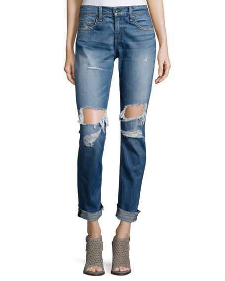 rag & bone/JEAN Dre Distressed Cuffed Jeans, Kennedy