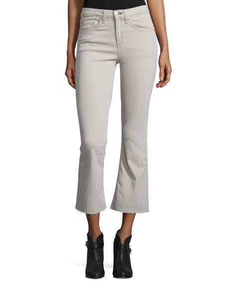 rag & bone/JEAN Flare-Leg Cropped Jeans, Beige
