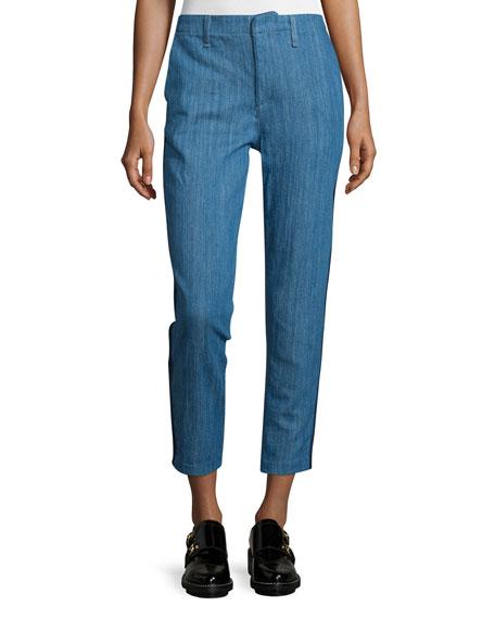 rag & bone/JEAN Slim-Leg Cropped Chino Pants, Denim