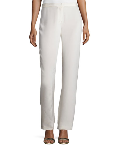 Neiman Marcus Silk Straight-Leg Pants