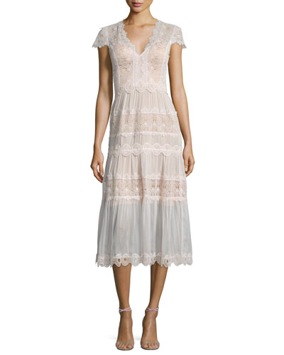 Short-Sleeve Tiered Lace A-Line Cocktail Dress