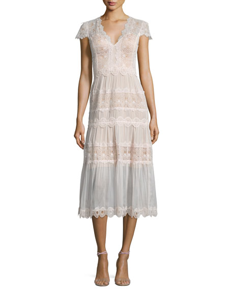 Catherine Deane Short-Sleeve Tiered Lace A-Line Cocktail Dress