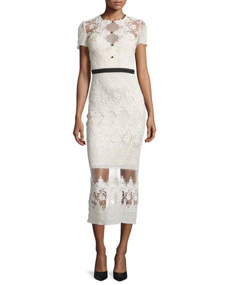 Catherine Deane Short-Sleeve Embroidered Lace Midi Dress, Cream