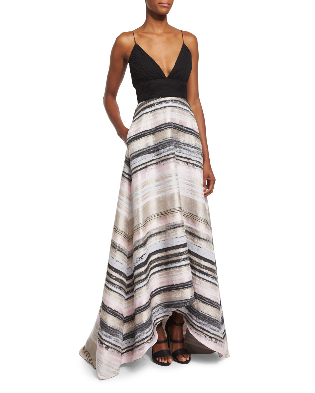 Badgley Mischka Sleeveless High-Low Striped Combo Gown, Black/Blush ...