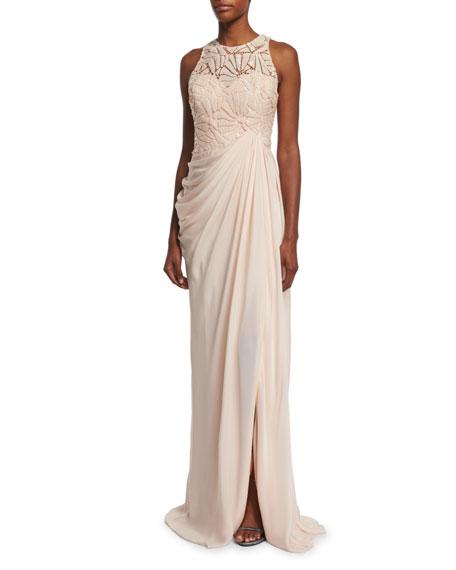 Sleeveless Embellished-Bodice Gown, Blush