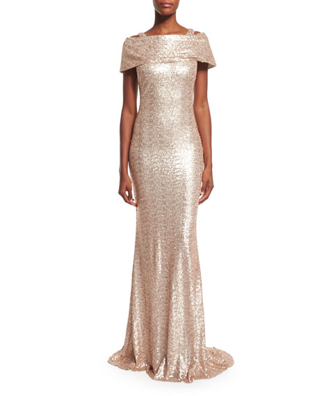Badgley Mischka Off-The-Shoulder Sequined Gown, Blush/Ivory