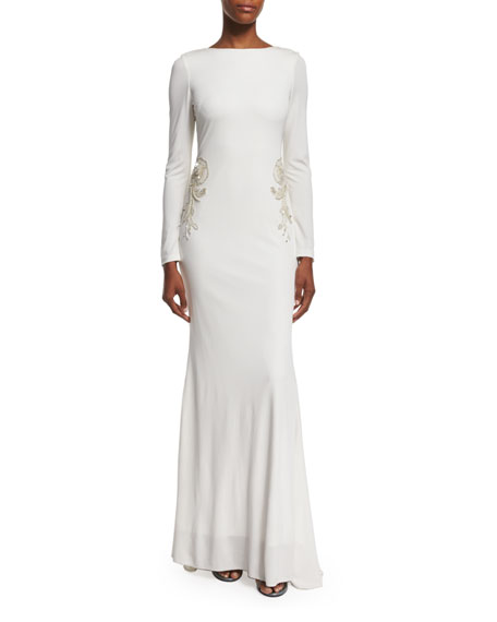 Badgley Mischka Draped-Back Embellished Gown, Ivory