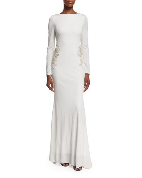 Badgley Mischka Draped-Back Embellished Gown, Ivory