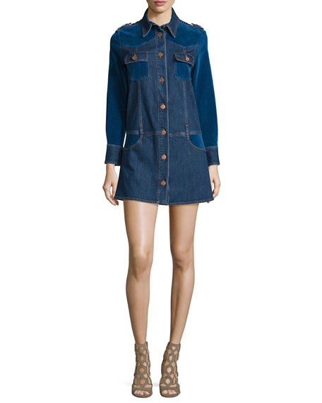See by Chloe Long-Sleeve Denim/Velvet Shirtdress, Washed Indigo