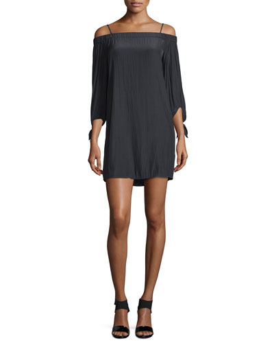 The Bare Shoulder Mini Dress, Black