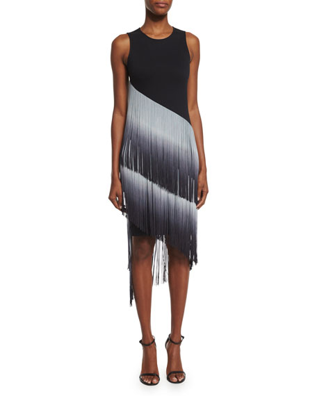 Haute Hippie The Cowgirl Ombre Fringe Dress, Black