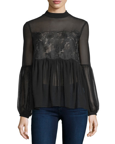 Sundream Long-Sleeve Lace-Inset Blouse, Black