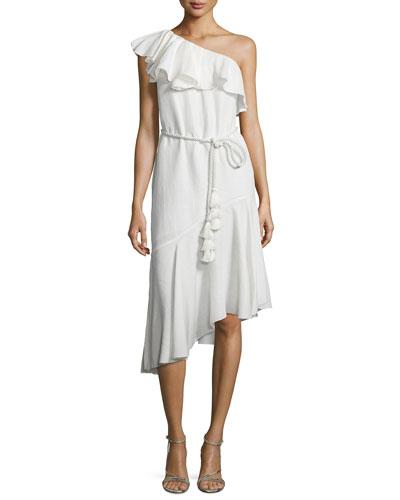 Violetta One-Shoulder Ruffle Dress, Ecru