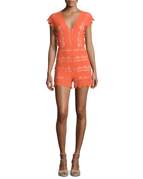 Antoinette Cap-Sleeve Lace Romper, Hot Orange