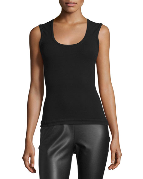 Scoop-Neck Knit Tank, Black