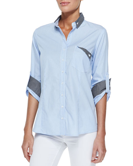 Finley Mr. French Long-Sleeve Contrast Dress Shirt