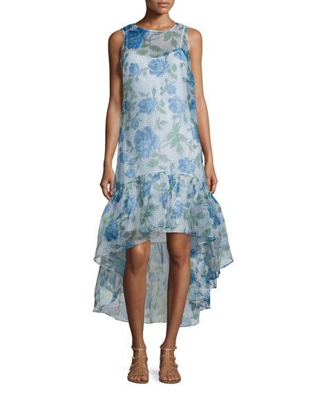 ERIN erin fetherston Trianon Sleeveless Floral-Print Gown,