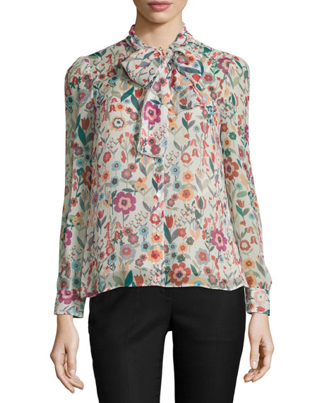 REDValentino Button-Front Tie-Neck Floral-Print Blouse, Ivory
