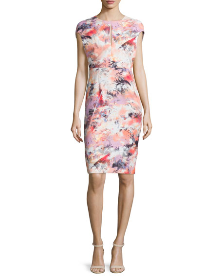 Black Halo Cap-Sleeve Floral-Print Sheath Dress