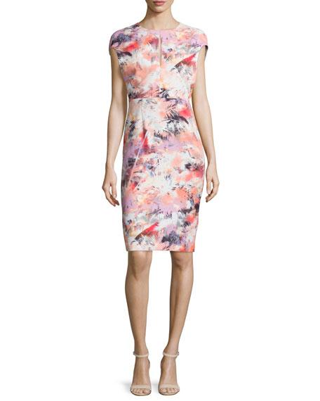 Black Halo Cap-Sleeve Floral-Print Sheath Dress