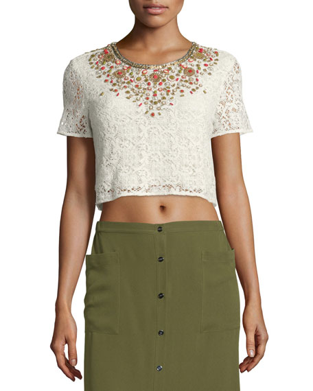 Haute Hippie Embellished Lace Crop Top, Ivory