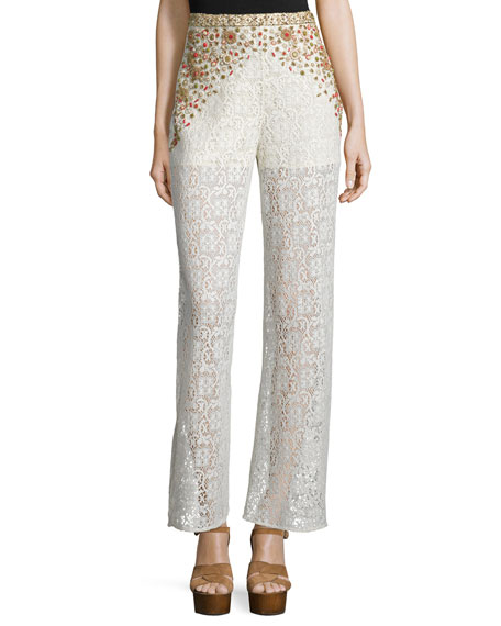 Haute Hippie Beaded Crochet-Lace Wide-Leg Pants, Ivory