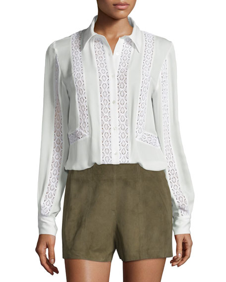 Haute Hippie Lace-Trim Silk Georgette Blouse, Swan