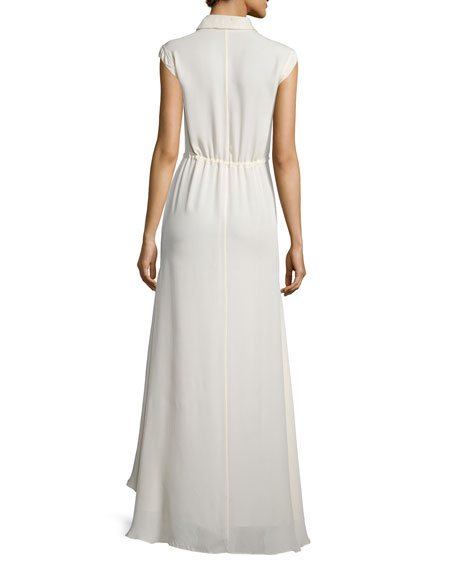 Pintucked Patterned Georgette Maxi Dress, Swan