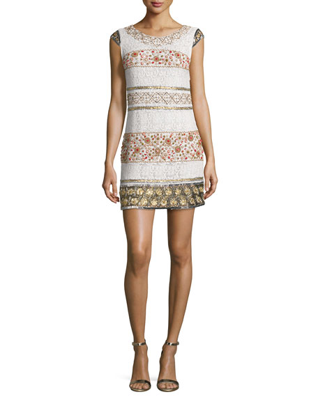 Haute HippieCap-Sleeve Beaded Lace Mini Dress, Antique Ivory