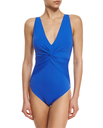 Solid Deep-V One-Piece Swimsuit