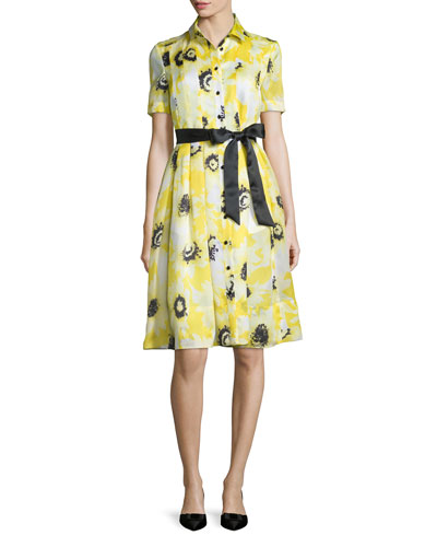 sunny daisy silk organza shirtdress, yellow