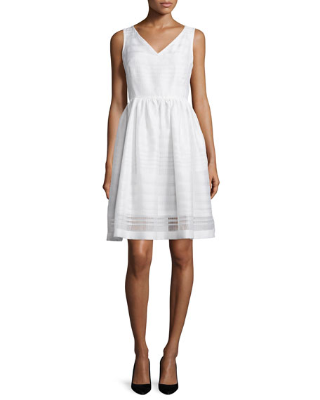 kate spade new york ribbon organza fit-and-flare dress,