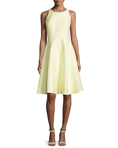 sleeveless open bow-back dress, lemon souffle