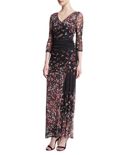 3/4-Sleeve V-Neck Floral-Print Long Dress